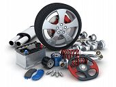 picture of spare  - Many auto parts on white background  - JPG