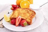 stock photo of french toast  - french sugar toast and fruits - JPG