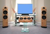 stock photo of high-def  - Home audio and video equipment on modern interior - JPG