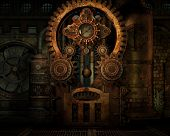 image of train-wheel  - a gear train at a factory in Steampunk style - JPG