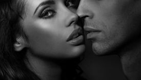 picture of enamored  - Close up black and white portrait of a loving couple - JPG