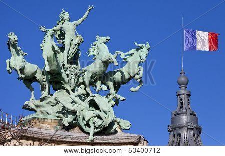 Grand Palais Quadriga In Paris
