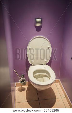 Toilet seat in modern room