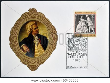AUSTRIA - CIRCA 1970: Stamp printed in austria dedicated to Mozart shows 100 years wiener staatsoper