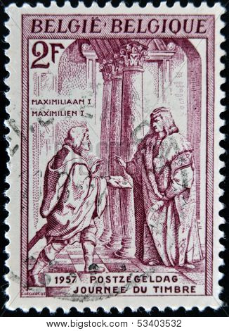 BELGIUM - CIRCA 1957: A stamp printed in Belgium shows Maximilian I of Hamburg circa 1957