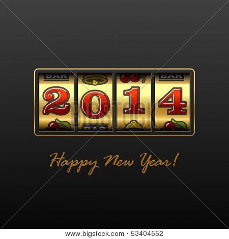 Happy New Year 2014 card. Vector.