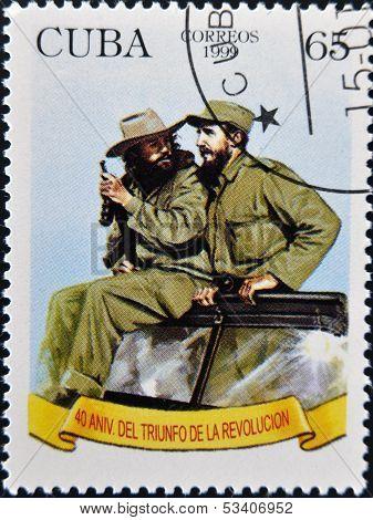 CUBA - CIRCA 1999: A stamp printed in Cuba shows Image of Fidel Castro and Che Guevara circa 1999