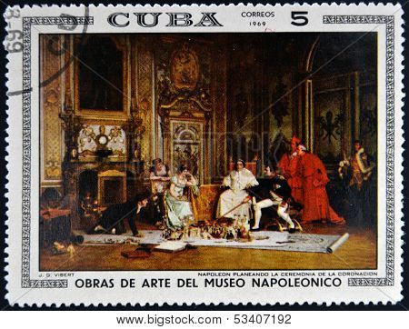 Stamp dedicated to Artworks Napoleon Museum shows Napoleon's Coronation Planning by Jehan G. Vibert