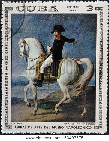 Stamp printed in Cuba dedicated to Artworks Napoleon Museum shows First Consul Napoleon by Regnault