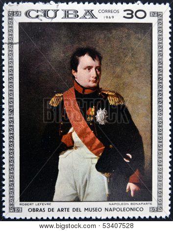 Stamp dedicated to Artworks Napoleon Museum shows Napoleon Bonaparte by Robert Lefevre
