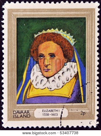 stamp printed in Davaar Island dedicated to the kings and queens of Britain shows Queen Elizabeth I