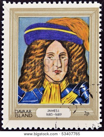 stamp printed in Davaar Island dedicated to the kings and queens of Britain shows King James I