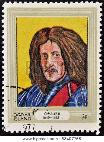 stamp printed in Davaar Island dedicated to the kings and queens of Britain shows King Charles II