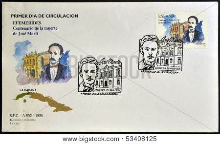 SPAIN - CIRCA 1995: a stamp printed in Spain shows Jose Marti circa 1995