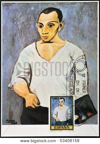 SPAIN - CIRCA 1978: A stamp printed in Spain shows self-portrait by Pablo Picasso circa 1978