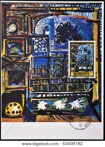 SPAIN - CIRCA 1978: A stamp printed in Spain shows Los pichones by Pablo Ruiz Picasso circa 1978