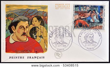 stamp printed by France shows Arearea (Merriment) by Paul Gauguin