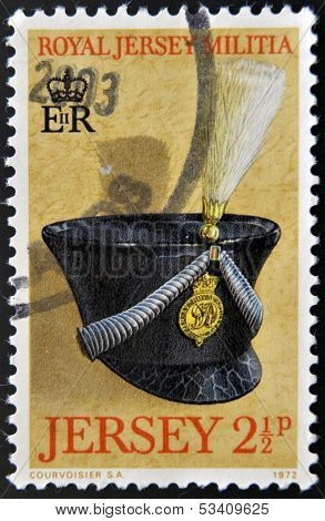 JERSEY - CIRCA 1972: Stamp printed in Jersey dedicated to Royal Jersey Militia circa 1972