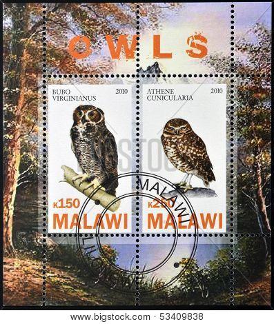 MALAWI - CIRCA 2010: Stamps printed in Malawi dedicated to owls circa 2010