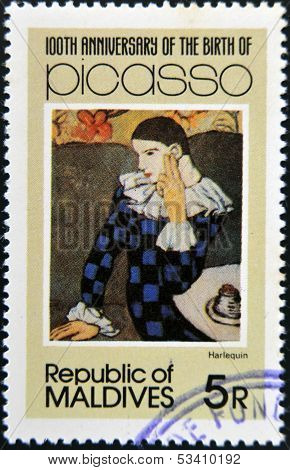 stamp printed in Malldives Islands shows Harlequin by Pablo Ruiz Picasso
