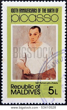 stamp printed in Malldives Islands shows self-portrait with a palette by Pablo Ruiz Picasso