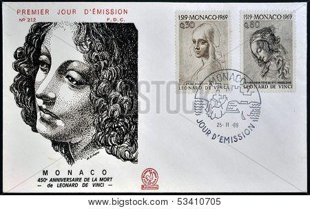 Stamps printed in Monaco dedicated to anniversary of the death of Leonardo da Vinci