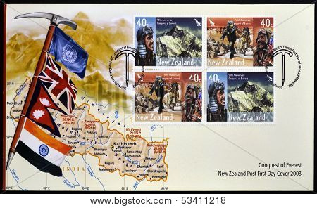 NEW ZEALAND - CIRCA 2003: Stamps printed in New Zealand dedicated to conquest of Everest circa 2003