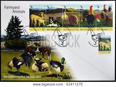 NEW ZEALAND - CIRCA 2005: Stamps printed in New Zealand dedicated to farmyard animals circa 2005