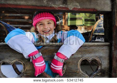 Winter, apres ski - girl enjoying winter vacation