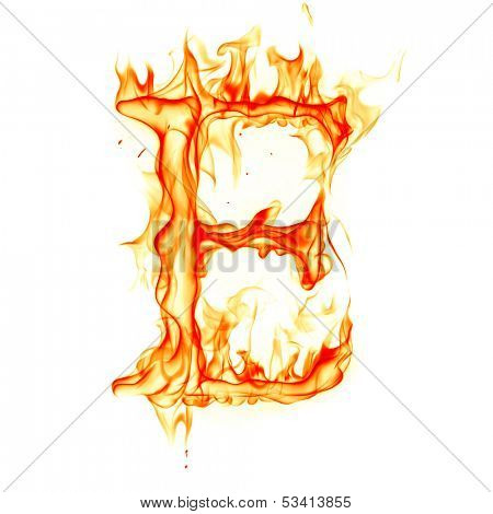 Fire letter isolated on white background