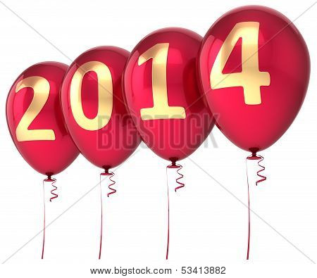 2014 New Year balloons party decoration. Christmas celebration helium balloon