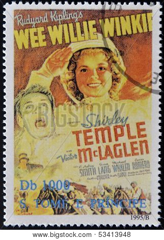 SAO TOME AND PRINCIPE - CIRCA 1995: A stamp printed in Sao Tome shows movie poster Wee Willie Winkie