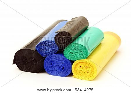 A lot of garbage bags rolls