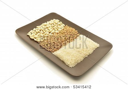 Bowl of dried beans, lentils and rice along