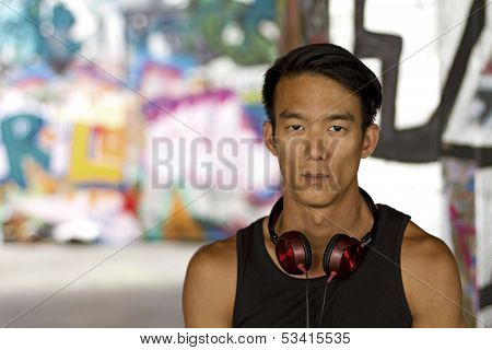 Portrait of a Chinese man with headphones