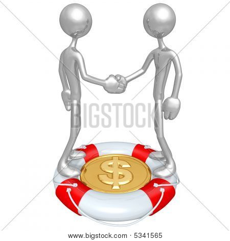 Handshake Lifebuoy Dollar Concept