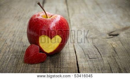 Apple With Engraved Heart
