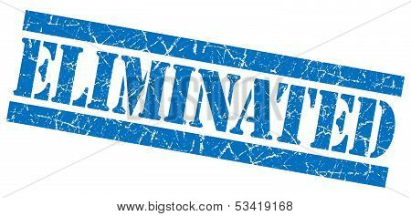 Eliminated Blue Grunge Stamp