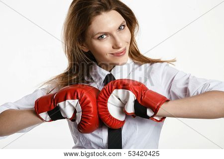 Sexy brunette woman is ready to fight