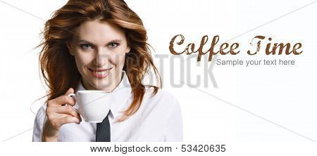 Smiling woman have a coffee break