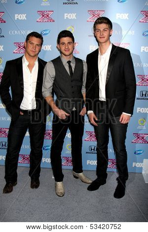 "LOS ANGELES - NOV 4:  Restless Road - Andrew Scholz, Colton Pack, Zach Beeken at the 2013 ""X Factor"" Top 12 Party  at SLS Hotel on November 4, 2013 in Beverly Hills, CA"
