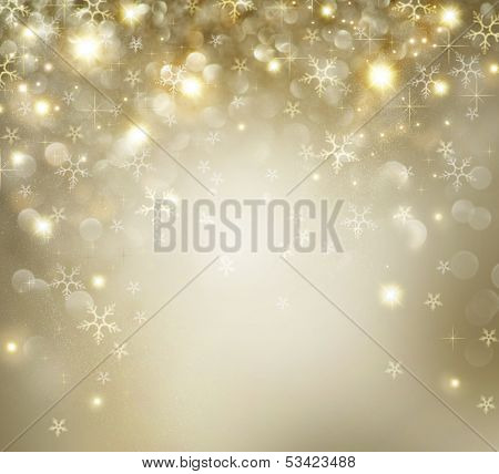 Christmas Background. Golden Holiday Abstract Glitter Defocused Background With Blinking Stars and Snowflakes. Blurred Bokeh