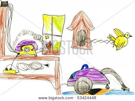 household equipment and  furnishing. child drawing