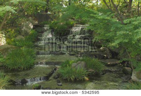Cascading Water At Koko-en