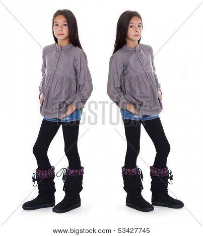 beautiful girl standing in the dark boots,