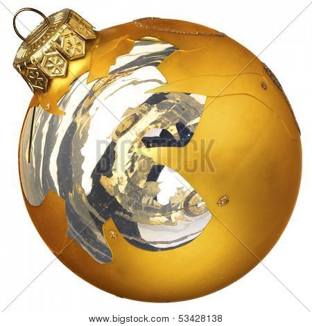 Accidentally broken golden Christmas glass ball isolated on a white background