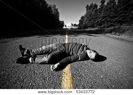 Empty Road With Dead Body In The Middle