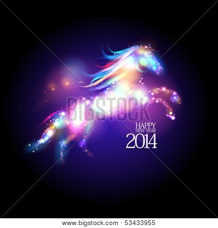 2014 new year design with abstract neon horse. Eps 10.