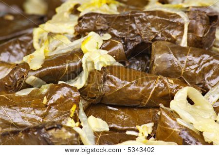 Stuffed Grape Leaves with Onion