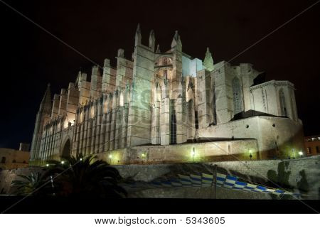 Cathedral La Seu In Palma De Mallorca At Night